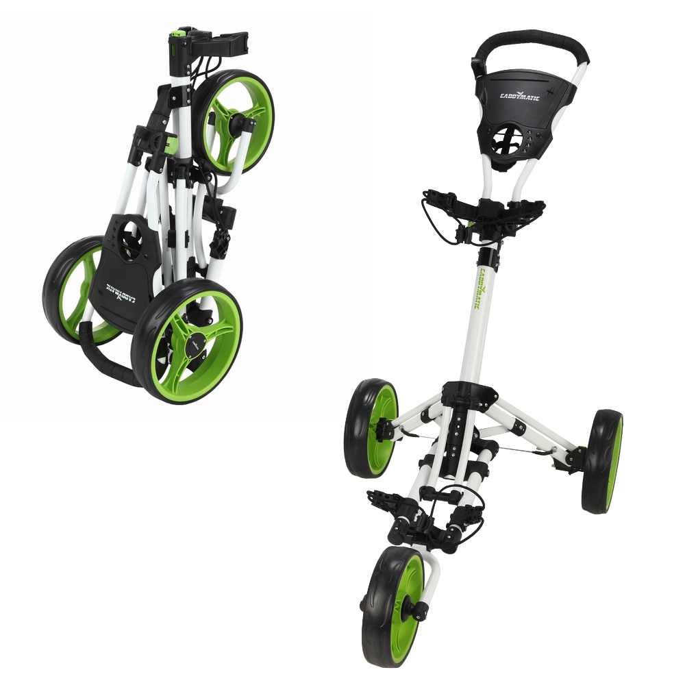 Caddymatic Golf X-Lite One-Click Folding Pull/Push Golf Cart White/Green