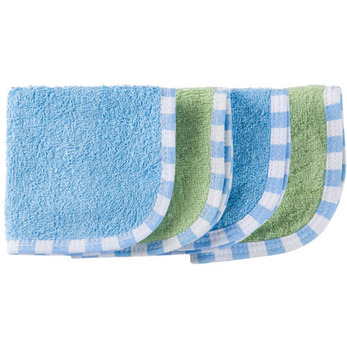 Gerber Baby Boy Woven Terry Solid Washcloths, 4-Pack