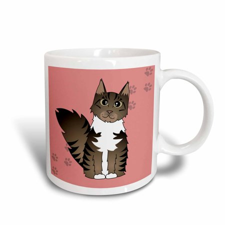 - 3dRose Cute Maine Coon Cartoon Cat - Brown Tabby with White - Rose with Pawprint, Ceramic Mug, 11-ounce