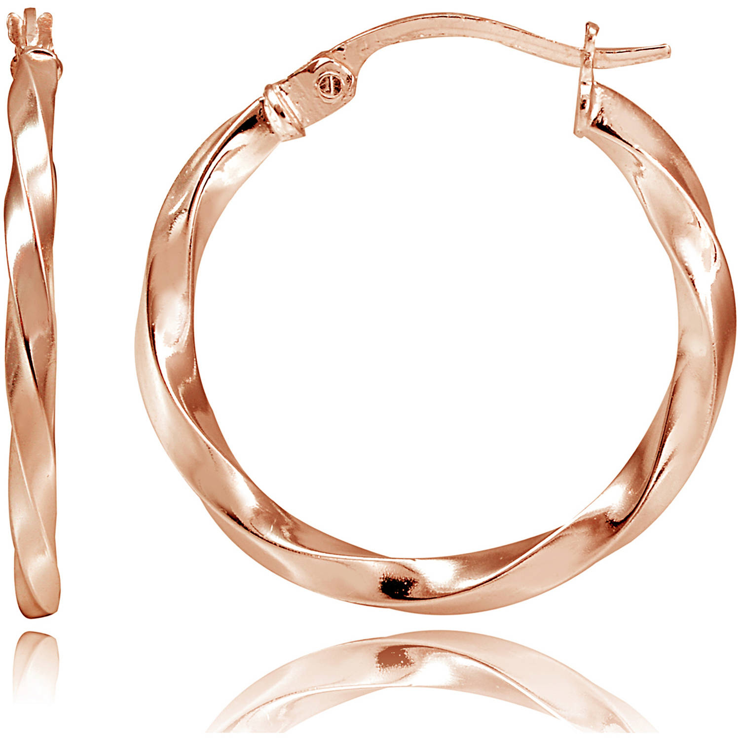 Rose Gold-Tone over Sterling Silver 2mm Twist Round Hoop Earrings