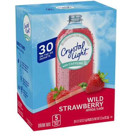 Crystal Light On The Go with Caffeine Wild Strawberry Drink Mix, 3.3 oz Box