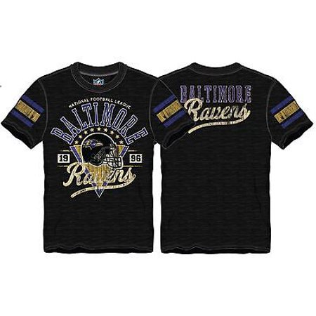 """Baltimore Ravens Men's Big and Tall """"Paydirt"""" Distressed Crew Neck T-Shirt"""
