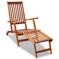 Outdoor Deck Chair with Footrest, Acacia Wood