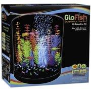 GloFish Half-Moon Bubbling aquarium Kit 3 Gallons, With Blue LED Bubbler