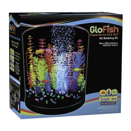 GloFish Half-Moon Bubbling aquarium Kit 3 Gallons, With Blue LED