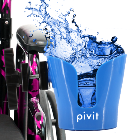 Pivit Clamp-On Wheelchair Water Bottle, Drink and Cup Holder | Adjustable Accessories for Any Kind of Strollers, Walkers, Bicycles, Wheelchairs, Bed Rails and Electric or Manual Wheelchairs ()
