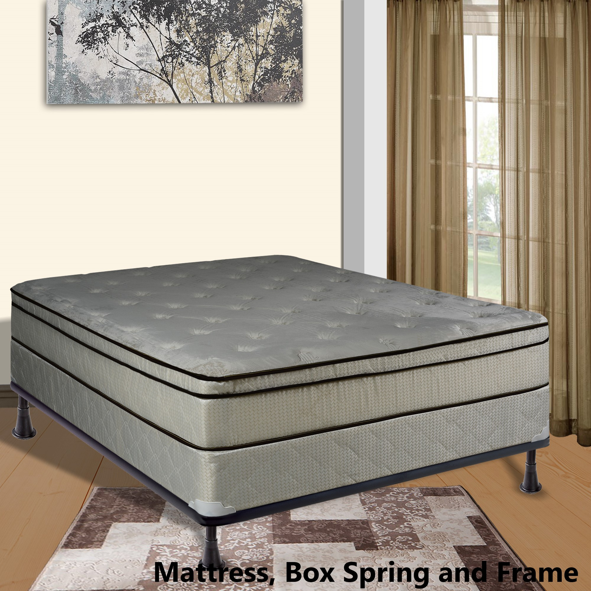 """Continental Sleep, 11-inch Fully Assembled FOAM ENCASED Innerspring Heavy plush Teddy Bear Fabric Mattress and 8"""" Box Spring with Frame, Twin XL Size"""