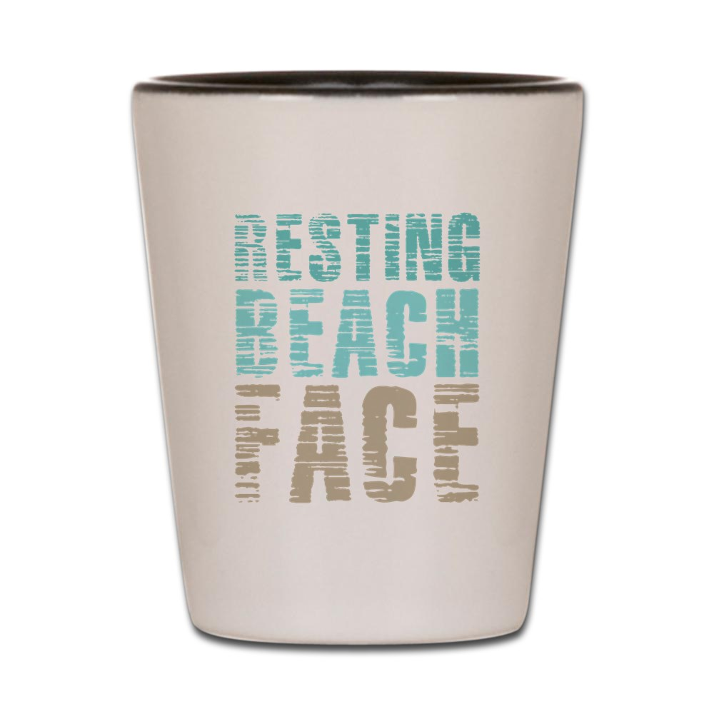 CafePress - Resting Beach Face Color - White Shot Glass, Unique and Funny Shot Glass