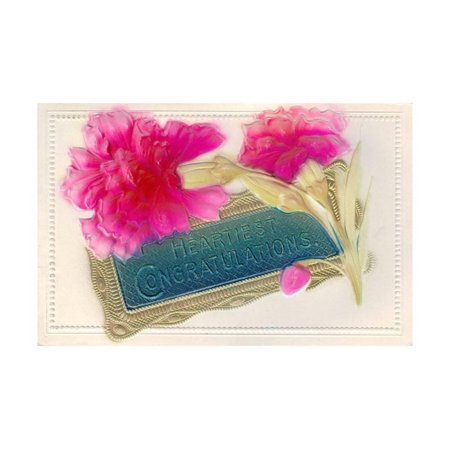 Hearty Congratulations Airbrushed Victorian Era Postcard Scanned in at 1200  DPI Print Wall Art By coverkid1