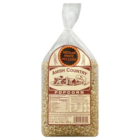 Amish Country Popcorn, Medium White Hulless - White Popcorn