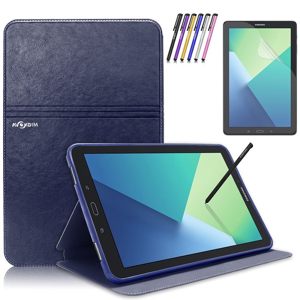 Mignova Samsung Galaxy Tab A 10.1 with S Pen Case - Slim Smart Stand Cover with Auto Sleep/Wake for Galaxy Tab A 10.1 inch Tablet with S Pen SM-P580+ Screen Protector Film and Stylus Pen (Blue)
