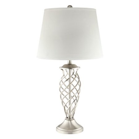Kingsbury Home Candice 3-Way Bulb Accent Table Lamp with Satin Nickel Contoured Cage Base