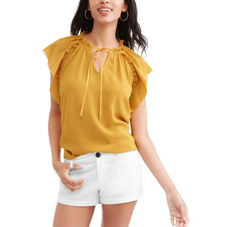 Women's Ruffle Flutter Sleeve Top 16 Flutter Sleeved Tee