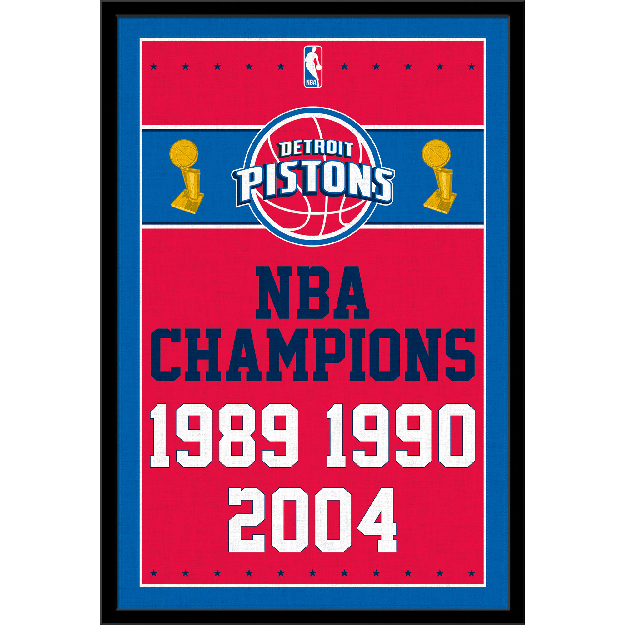 Detroit Pistons NBA Finals Champions 24.25'' x 35.75'' Logo Framed Poster - No Size