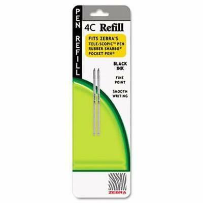 Dual Pocket Zebra - 2 units Zebra Refill fit 4C Pocket Pen, Fine, Black Ink, 2Pack per unit