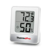 ThermoPro TP49 Indoor Digital Hygrometer Thermometer Temperature Humidity Meter Room Monitor Mini Hygrometer Thermometer Tabletop/Wall-mountable/Magnet-mountable White