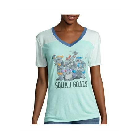 Nickelodeon Womens TMNT Squad Goals Graphic T-Shirt (Womens Ninja Turtle Shirt)