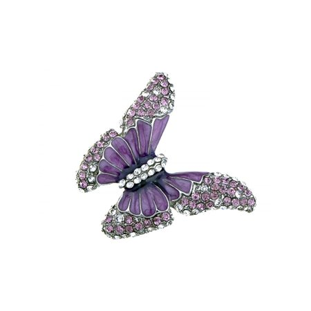 Butterfly Purple Enamel Crystal Amethyst Rhinestone Spring Fashion Custom Ring Crystal Rhinestone Bridal Rings