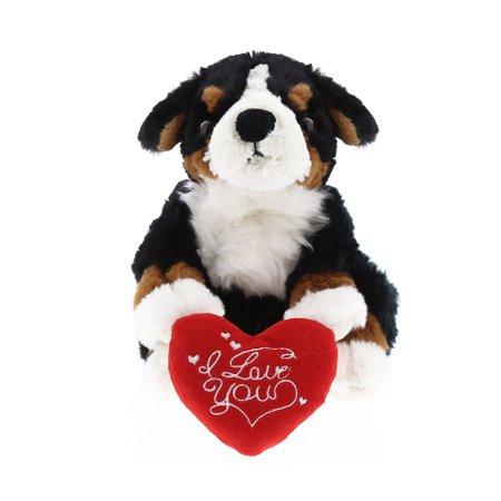 Super Soft Plush Dollibu Lying Bernese Dog Red I Love You Valentines Plush - Valentine Dog