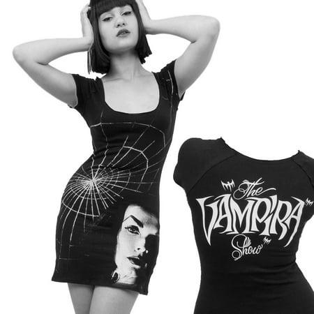 Women's Vampira Shadow Face Tunic Dress Kreepsville Gothic Horror Fashion - Medium