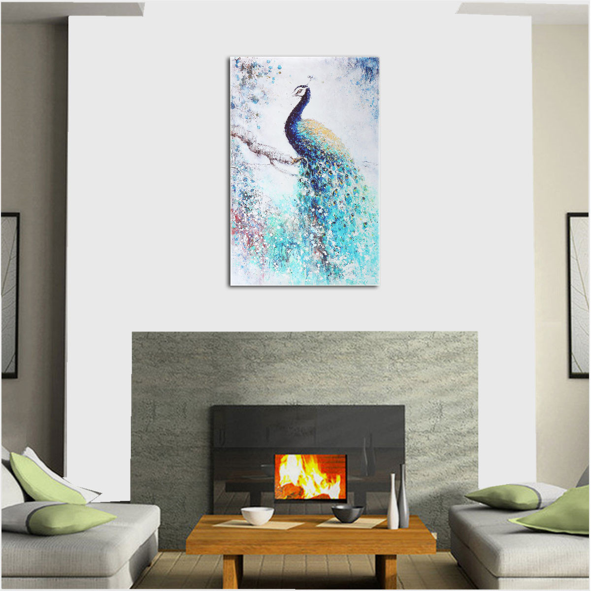 Jeteven Unframed Decor Wall Art Painting Picture Peacock Canvas Print Hanging Picture