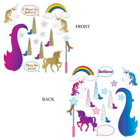 Unicorn Glittered Photo Fun Signs Double Sided 16pc 3