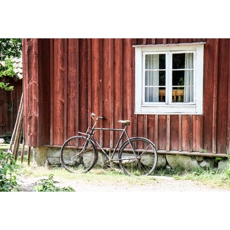 Canvas Print House Cycle Falun Red Facade Stretched Canvas 32 x 24