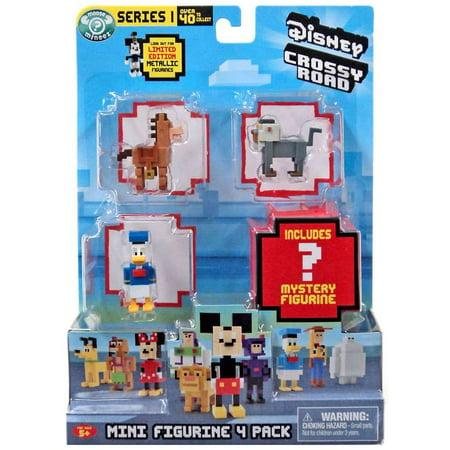 Crossy Road Series 1 Bullseye, Rafiki & Donald & Mystery Figure Mini Figure 4-Pack (Road Hog Series Headwraps)