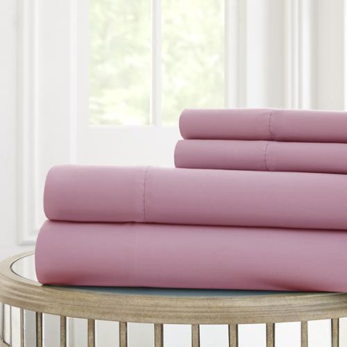 4-piece Solid Microfiber Sheet Set Full, Pink