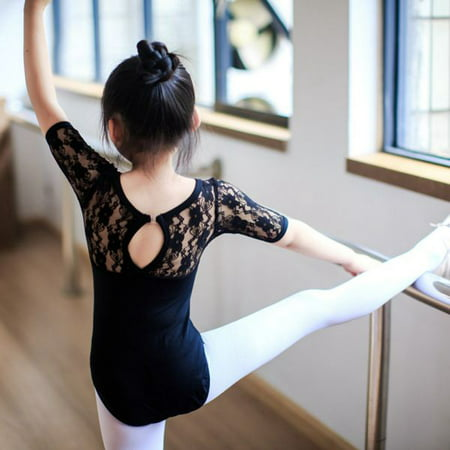 Girls Black Long Sleeve Leotard (Kids Child Girls Gymnastics Leotard Lace Half Sleeve Ballet Dance Dress)