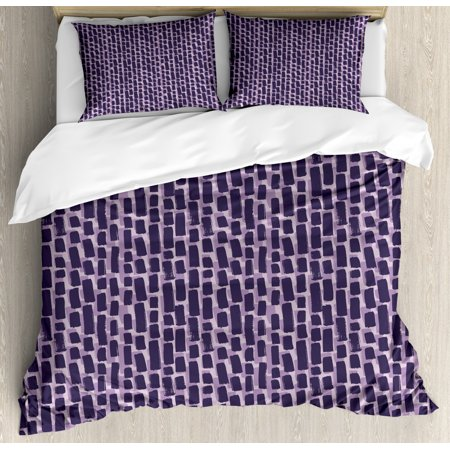 Abstract Duvet Cover Set Queen Size, Hand Drawn Style Paint Brush Strokes Pattern Grunge Lines, Decorative 3 Piece Bedding Set with 2 Pillow Shams, Dark Grey Violet Purple and Grey, by Ambesonne Hand Painted Queen