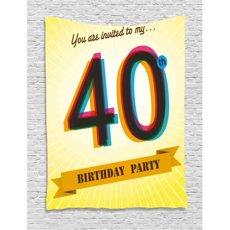 40th Birthday Decorations Tapestry, Vintage Graphic Banner Party Invitation Theme Optical Striped, Wall Hanging for Bedroom Living Room Dorm Decor, 60W X 80L Inches, Multicolor, by Ambesonne
