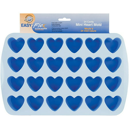 "Wilton Easy Flex 1.5""x1.75"" Bite Size Silicone Mold, Heart 2105-4909"