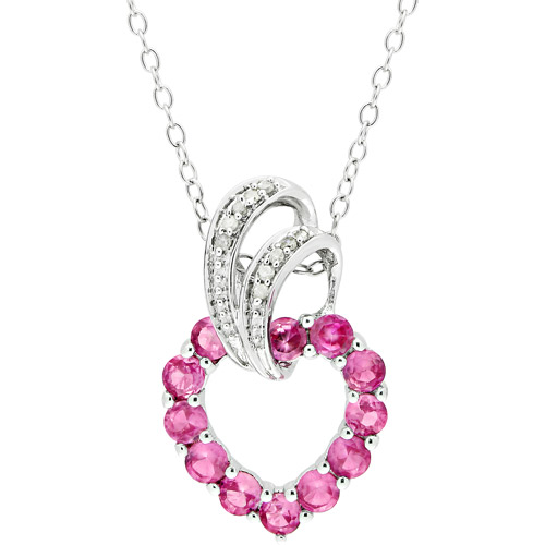 """1-1/10 Carat T.G.W. Created Pink Sapphire and Diamond Accent Sterling Silver Pendant, 18"""""""