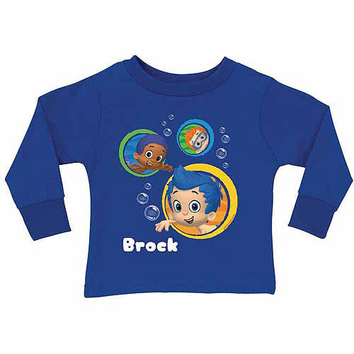 Personalized Bubble Guppies Guppy Boy's Blue Long Sleeve Tee