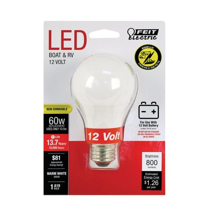 Feit Electric BOM60930CALED12 A19 LED Bulb, 10.5 Watts, 12 -
