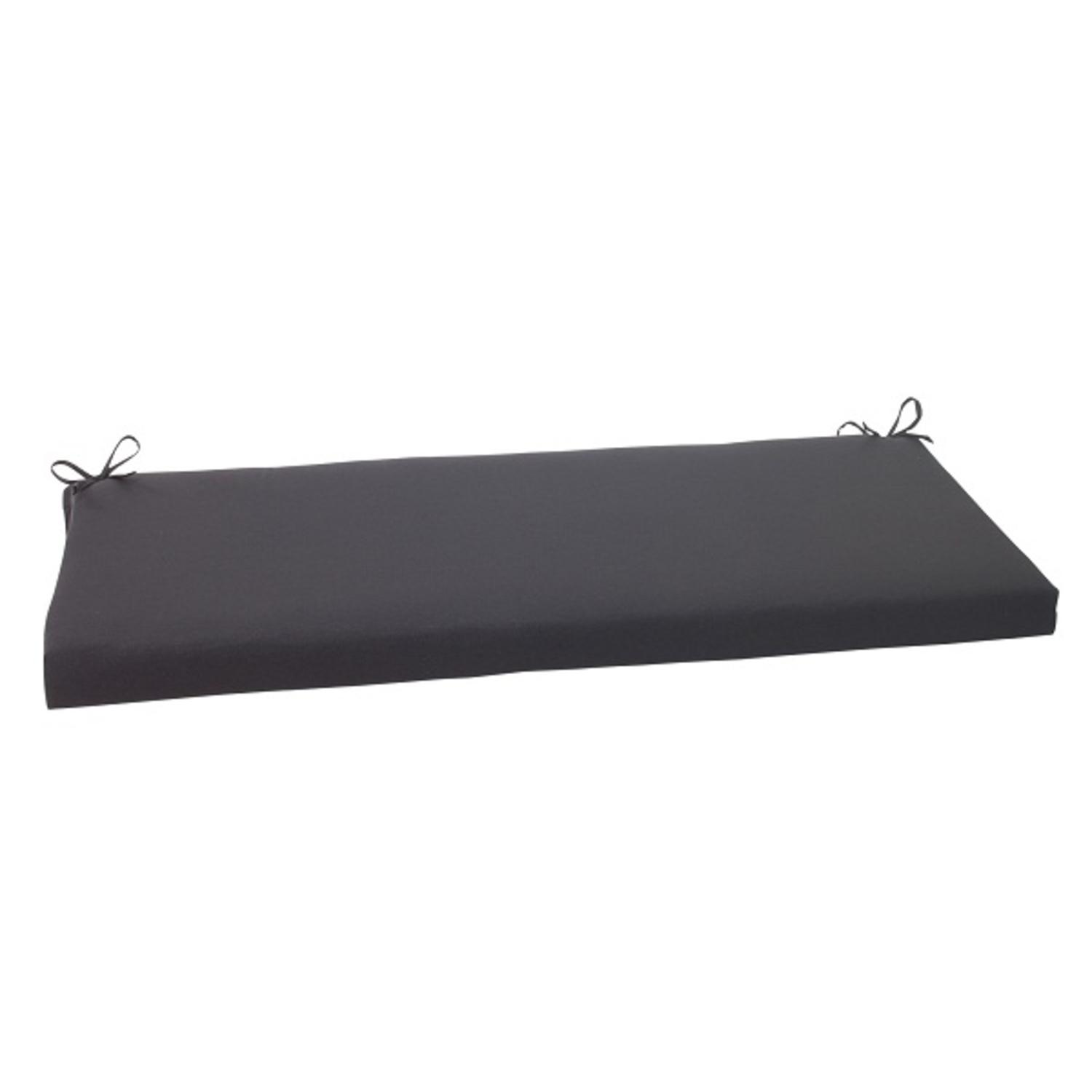 "45"" Solid Dark Gray Outdoor Patio Bench Cushion with Ties"