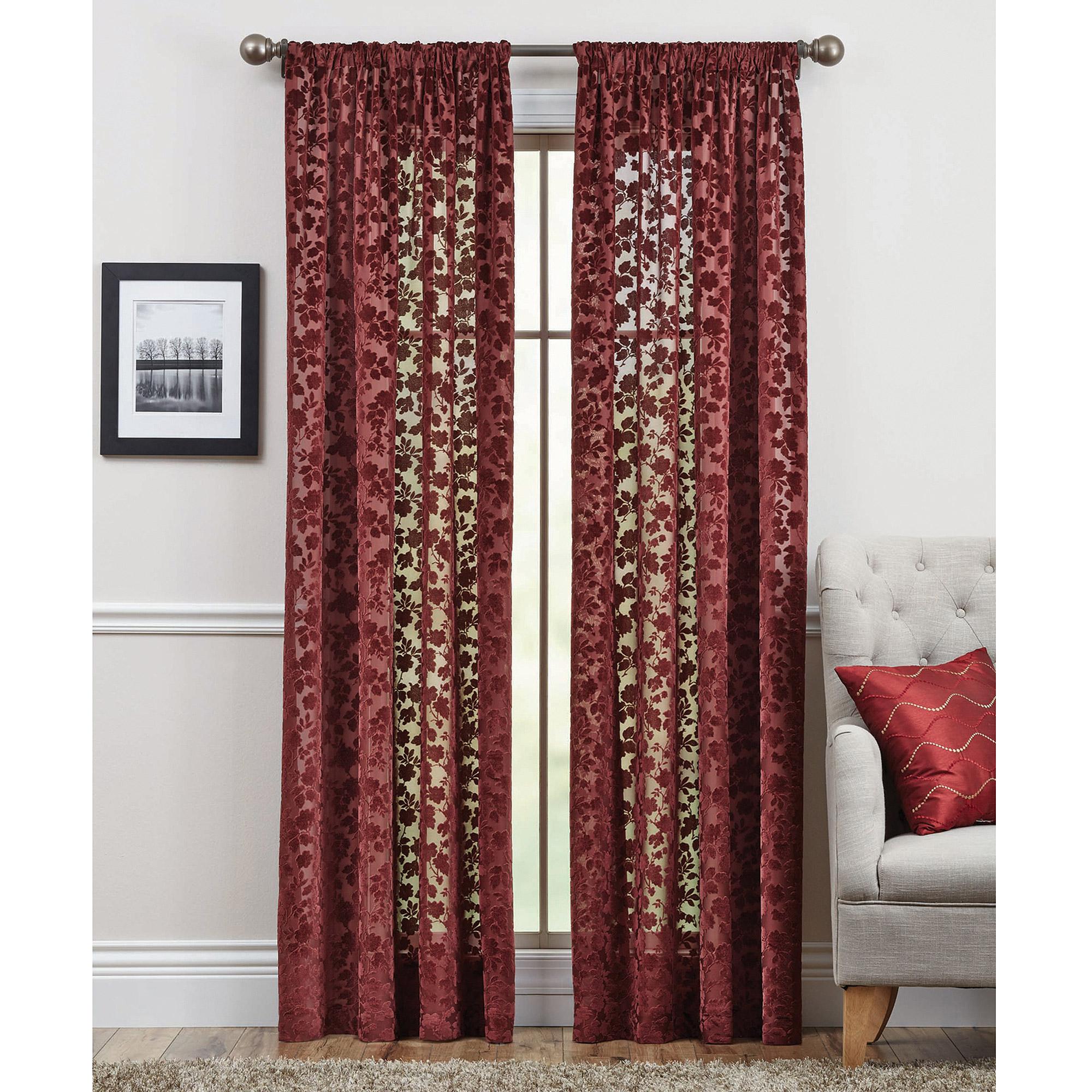 Fresh Better Homes and Gardens Floral Velvet Sheer Curtain Panel  MF05