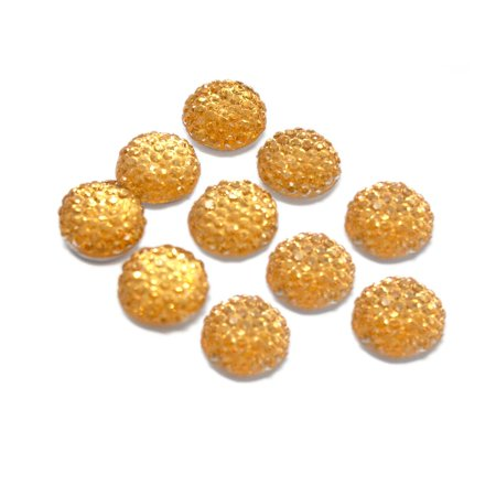 Round Self Adhesive Diamond Cluster Gems, Gold, 10mm, 10-Count