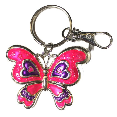 Essentials Silver Tone Pink and Purple Butterfly Key Ring