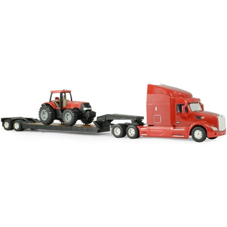 TOMY ERTL Big Farm 1:32 Peterbilt Model 579 Semi with Lowboy and Case IH MX305 Tractor Backhoe Loader