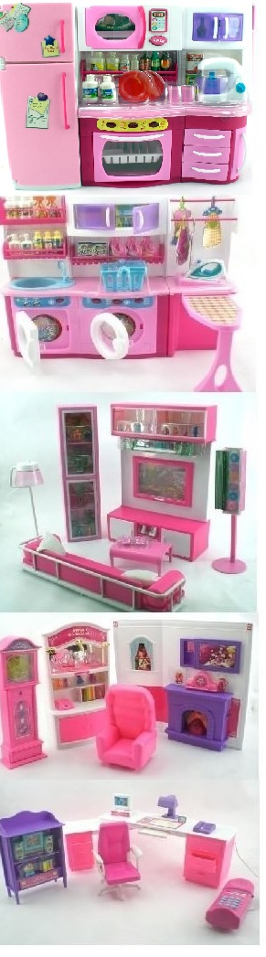 Pink 5 Room Whole House Barbie Size Furniture by GIRL FUN TOYS