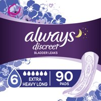 Always Discreet Extra Heavy Incontinence Pads, Long Length, 90 ct