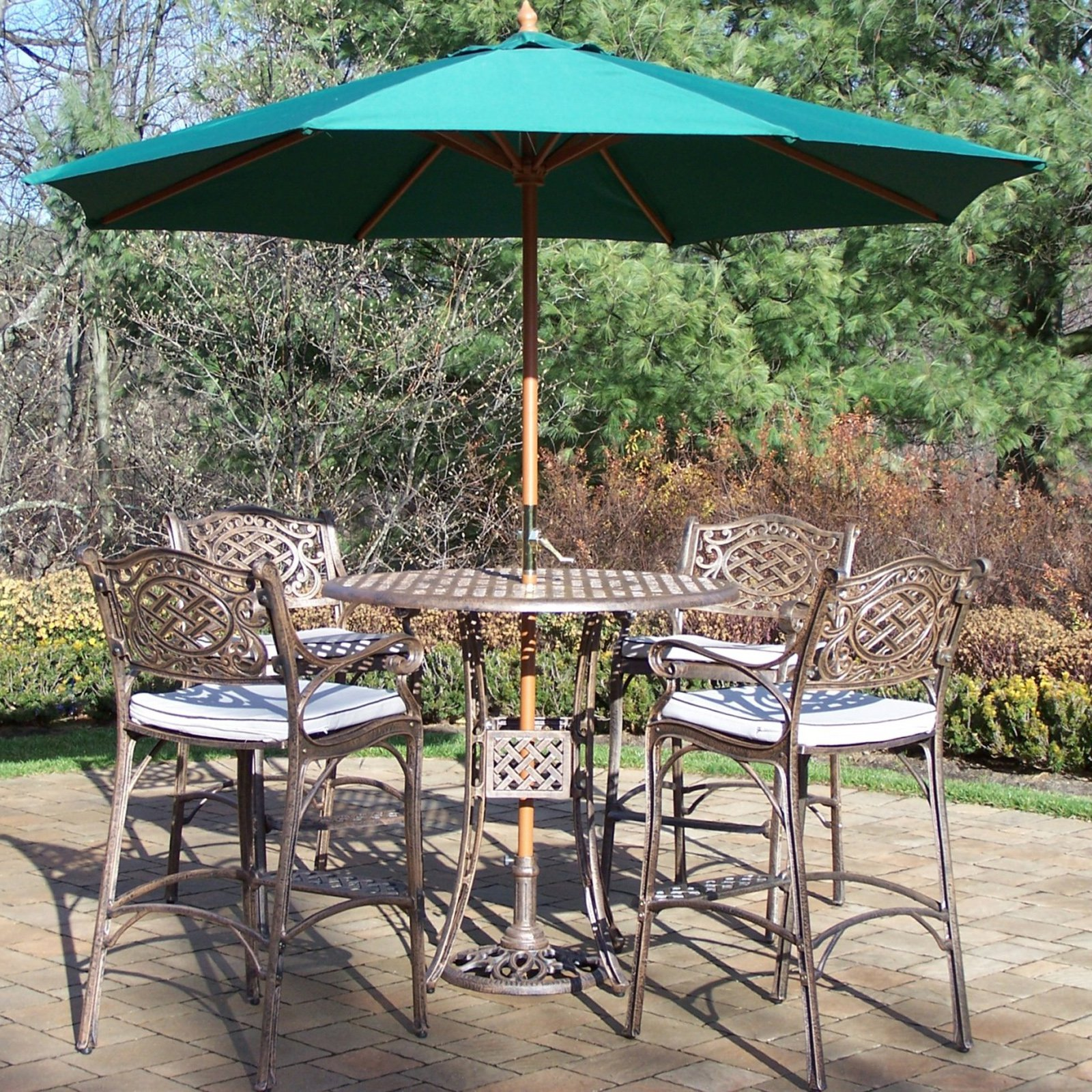 Oakland Living Elite Mississippi Cast Aluminum 5 Piece Patio Bar Set with Cushions plus Umbrella and Stand