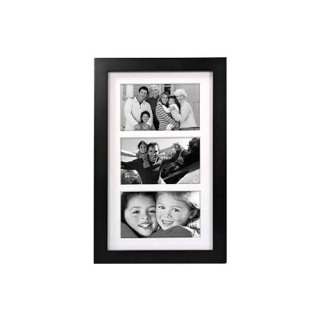 3 Opening 5x7 Picture Frame Linear Wall Matted Black