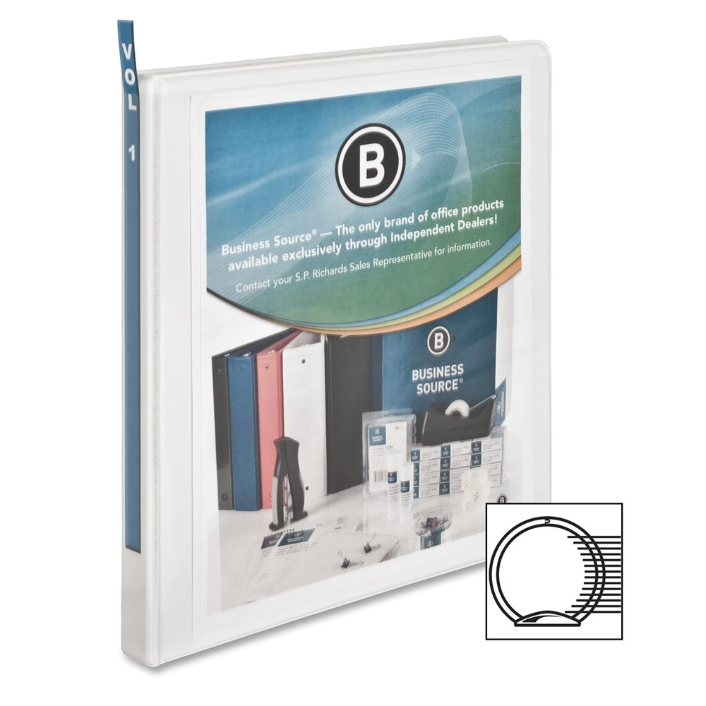 Business Source Standard View Binder, 1/2''Capacity, White (Set of 2)