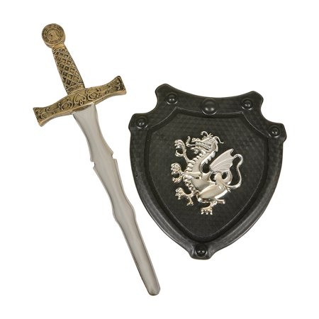 Child Black Knight Costume Sword and Shield Set](Toy Knight Swords)