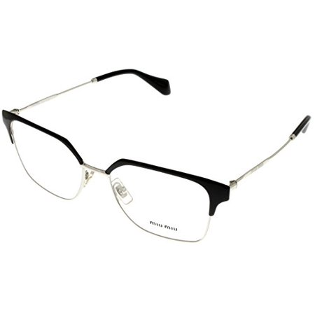 Miu Miu Prescription Eyewear Frames  Women Square Black And Silver MU 52OV 1AB1O1 Size: Lens/ Bridge/ Temple: (Miumiu Eyewear)