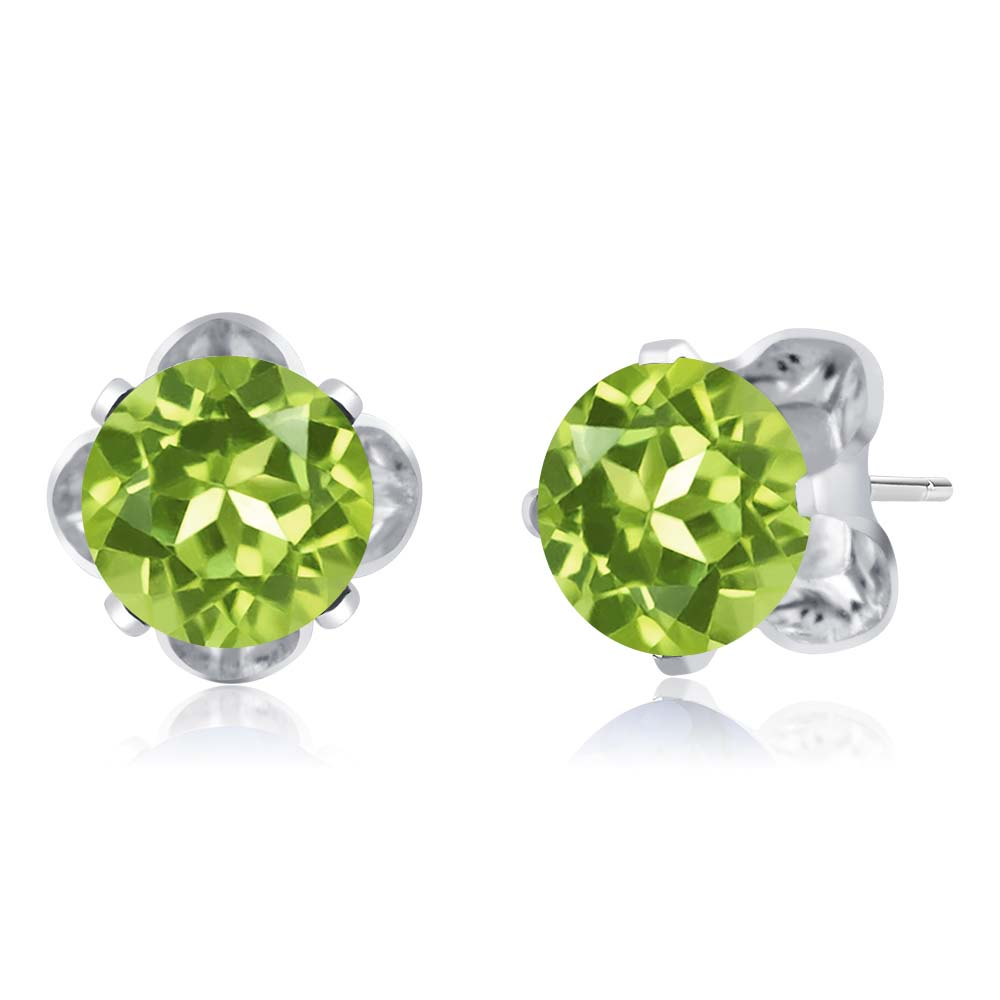 2.70 Ct Round 7mm Green Peridot 925 Sterling Silver Stud Earrings