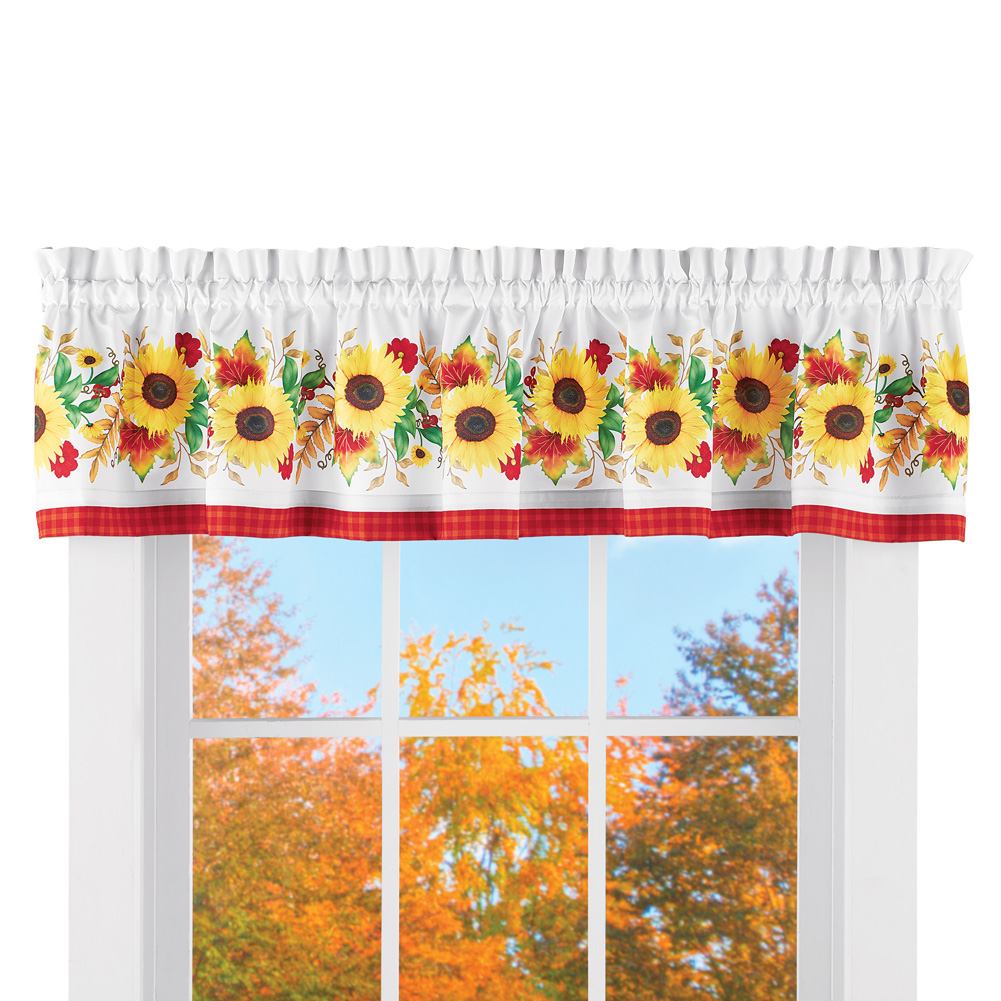 Window valance curtain with sunflowers decoration for kitchen bathroom white background with yellow red and green fall décor accents plaid patterned